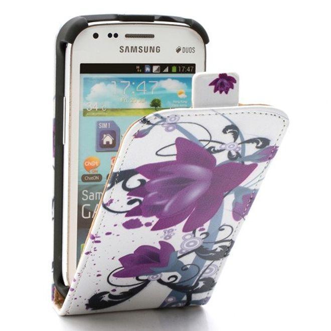 Samsung Galaxy S Duos Leder Case mit Lotus Blumen