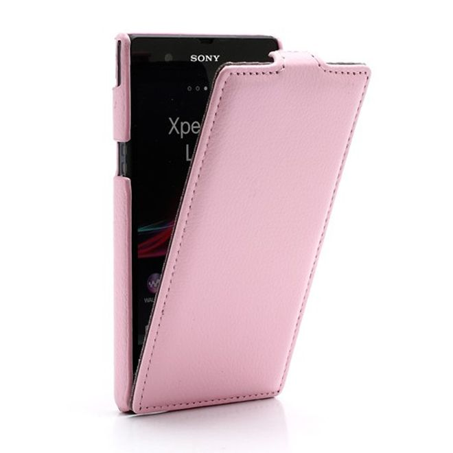 MU Classic Sony Xperia Z Ultradünnes Leder Case mit Litchimuster - pink