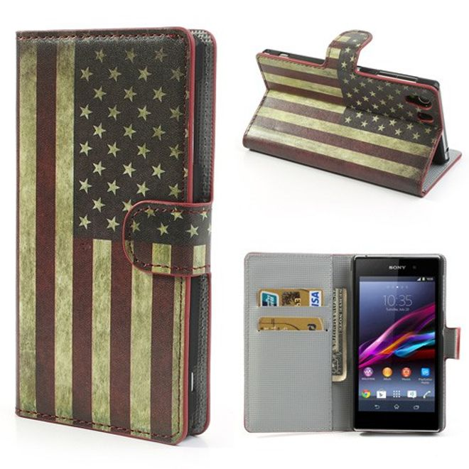 Sony Xperia Z1 Leder Case mit Retro USA Flagge und Standfunktion