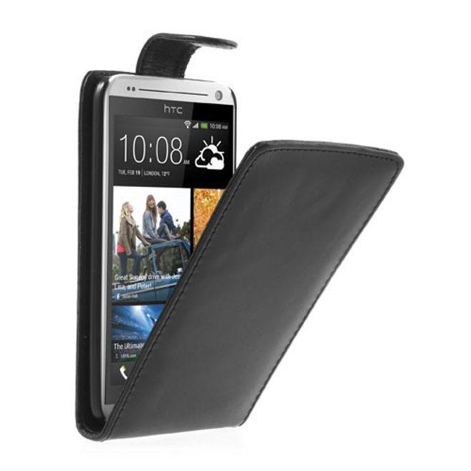 MU Classic HTC Desire 700 Klassisches Leder Flip Case - schwarz