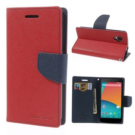 Mercury Goospery - LG Google Nexus 5 Hülle - Handy Bookcover - Fancy Diary Series - rot/navy