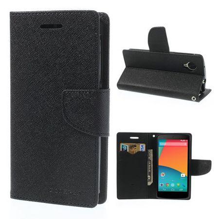 LG Google Nexus 5 Cooles, zweifarbiges Leder Case - schwarz