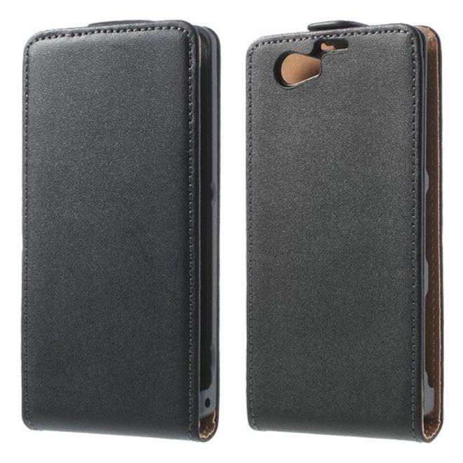 Sony Xperia Z1 Compact Echtleder Case - schwarz