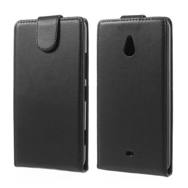 Nokia Lumia 1320 Leder Flip Case mit Litchimuster - schwarz