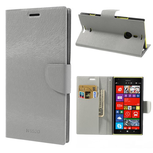Nokia Lumia 1520 Fellartiges Leder Case mit Standfunktion - grau