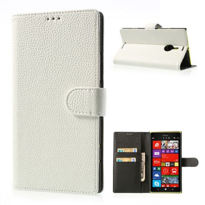 MU Style Nokia Lumia 1520 Leder Cover mit Litchimuster und Standfunktion - weiss