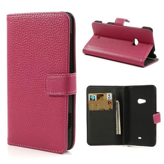 Nokia Lumia 625 Leder Case mit Litchimuster und Standfunktion - rosa