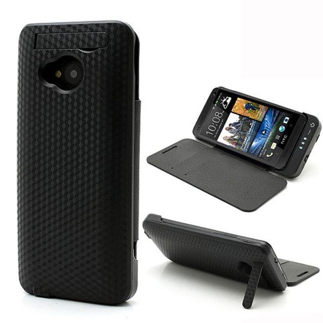 MU Classic HTC One Texturiertes Batterie Case 3800mAh - schwarz