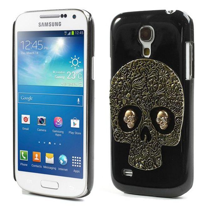 MU Style Samsung Galaxy S4 Mini Hart Plastik Case mit Totenkopf - golden