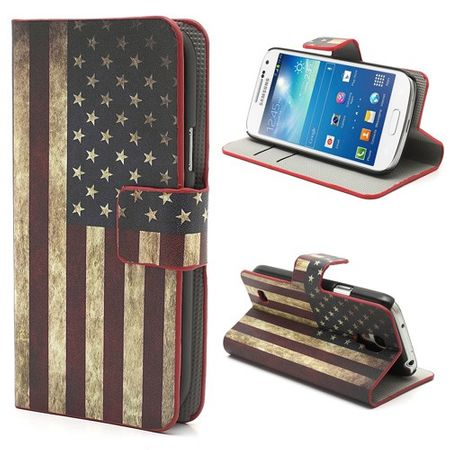 Samsung Galaxy S4 Mini Leder Case mit USA Nationalflagge retro-style