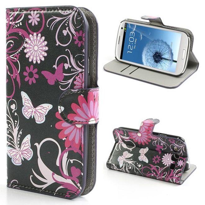 MU Style Samsung Galaxy S3 Leder Case mit Schmetterlingen und Blumen - schwarz