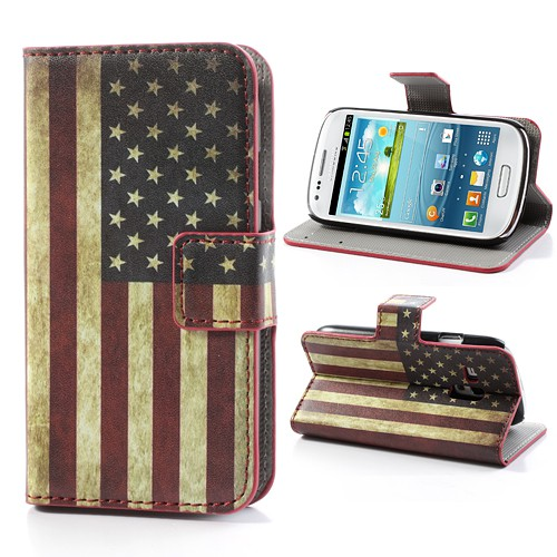 Samsung Galaxy S3 Mini Leder Case mit USA Nationalflagge retro-style
