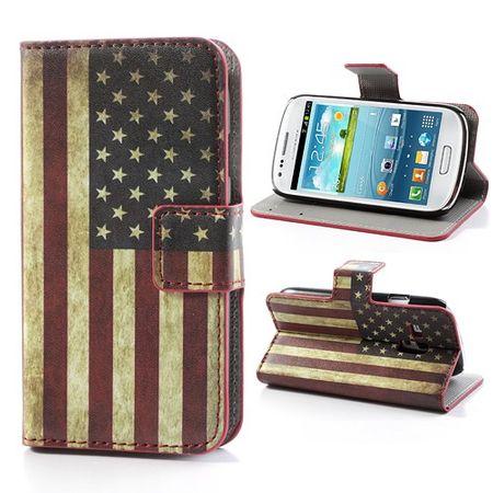 Samsung Galaxy S3 Mini Leder Case mit USA Nationalflagge retro-style