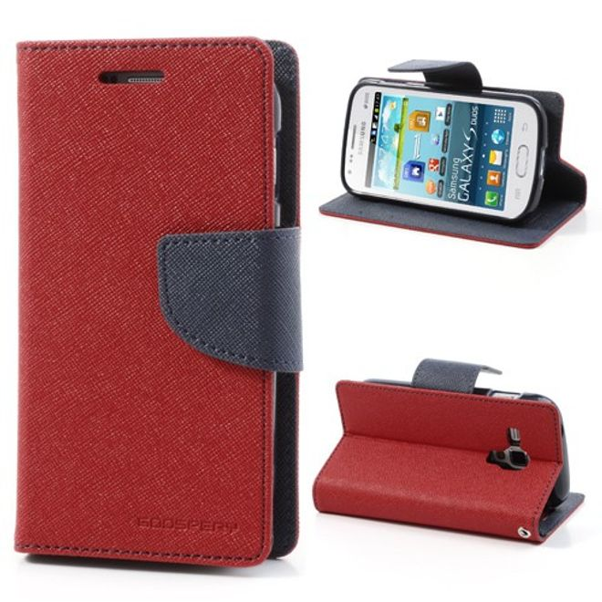 Goospery Goospery - Samsung Galaxy S Duos Hülle - Handy Bookcover - Fancy Diary Series - rot/navy