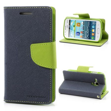 Goospery - Samsung Galaxy S Duos Hülle - Handy Bookcover - Fancy Diary Series - navy/lime
