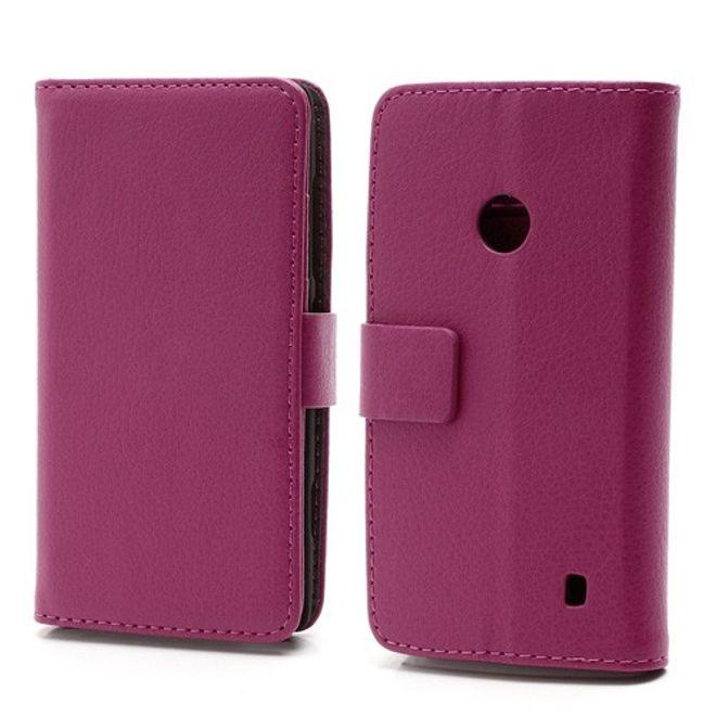 MU Classic Nokia Lumia 520 Leder Case mit Standfunktion - rosa