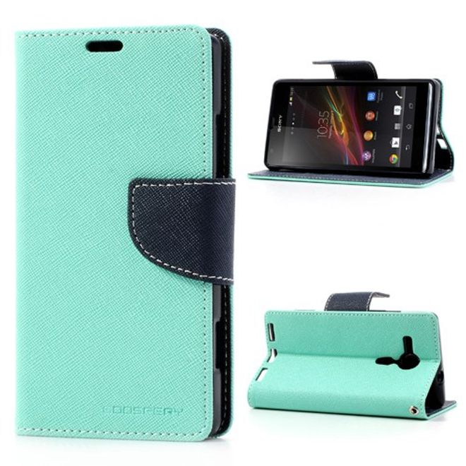 Goospery Goospery - Sony Xperia SP Hülle - Handy Bookcover - Fancy Diary Series - mint/navy