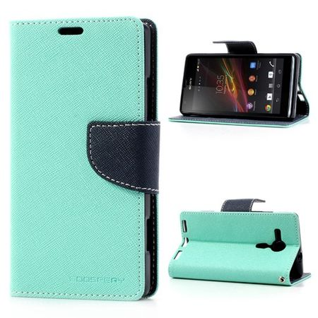 Goospery - Sony Xperia SP Hülle - Handy Bookcover - Fancy Diary Series - mint/navy