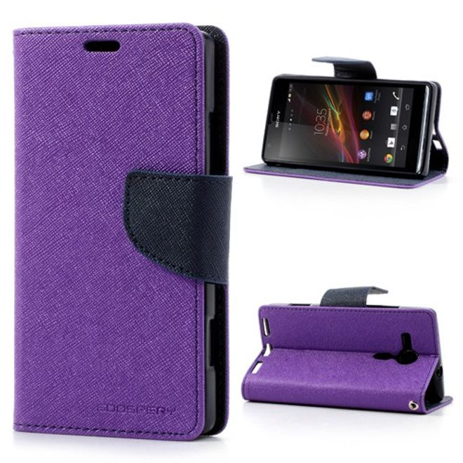 Goospery Sony Xperia SP Modisches Leder Case mit Standfunktion - dunkelblau/purpur
