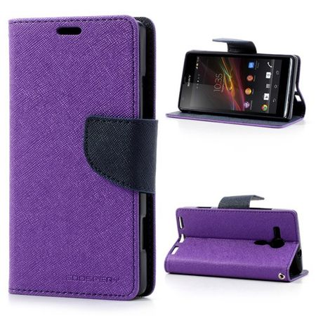 Goospery - Sony Xperia SP Hülle - Handy Bookcover - Fancy Diary Series - purpur/navy