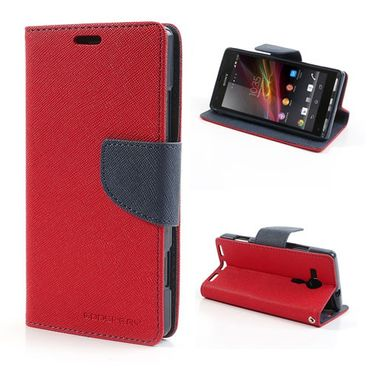 Sony Xperia SP Modisches Leder Case mit Standfunktion - dunkelblau/rot
