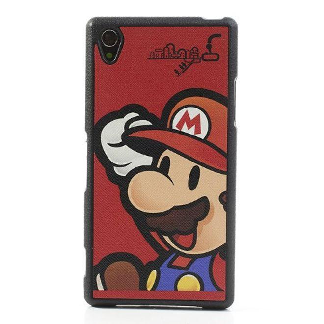 MU Style Sony Xperia Z1 Elastisches Plastik Case mit lederartiger Oberfläche Super Mario - rot