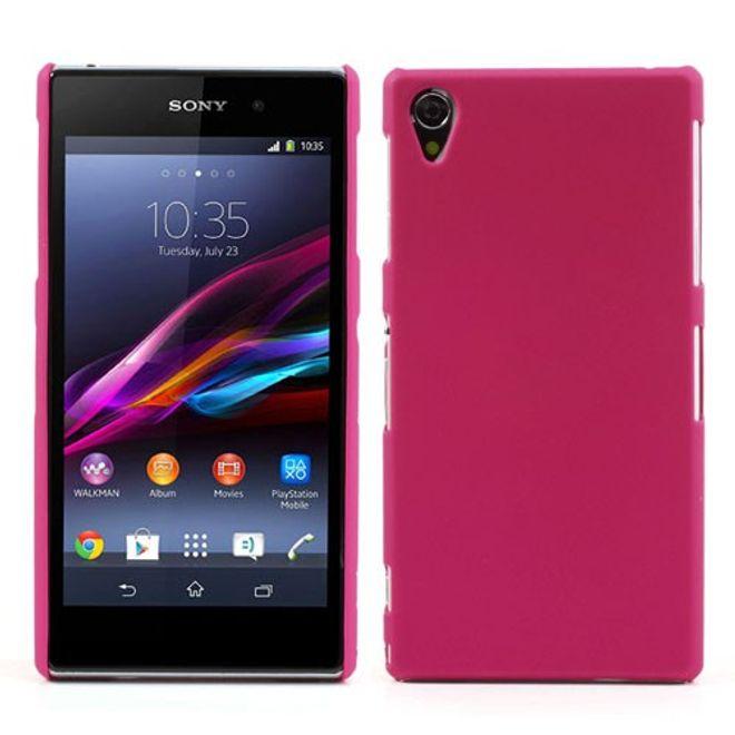 MU Classic Sony Xperia Z1 Gummiertes Hart Plastik Case - rosa