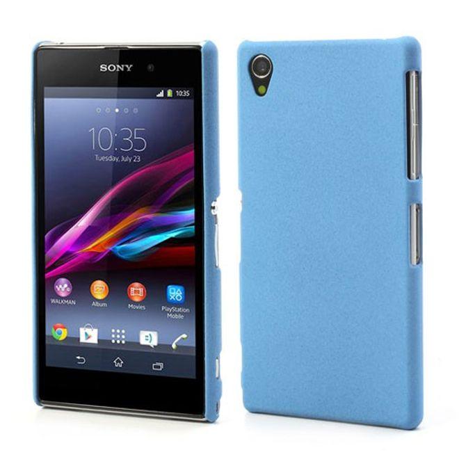Sony Xperia Z1 Hart Plastik Case mit sandartiger Oberfläche - hellblau