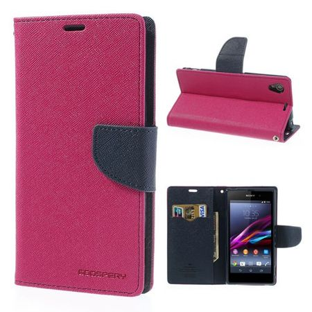 Sony Xperia Z1 Modisches, hochwertiges Leder Case - dunkelblau/rosa