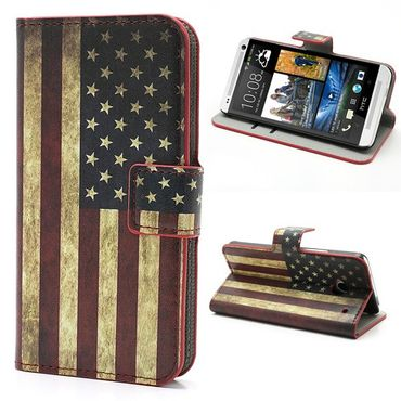 HTC One Leder Case mit USA Nationalflagge retro-style