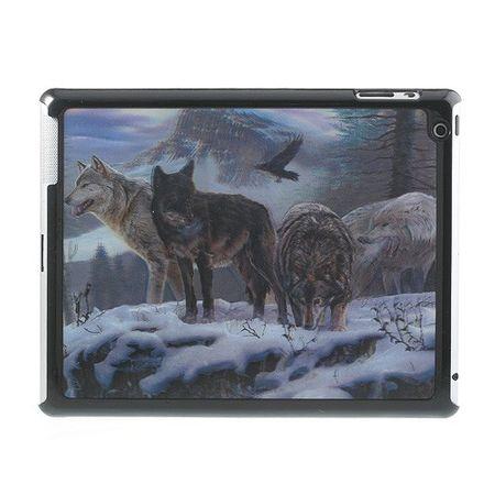 iPad 2/3/4 3D Effekt Hart Plastik Case mit Wölfen im Schnee