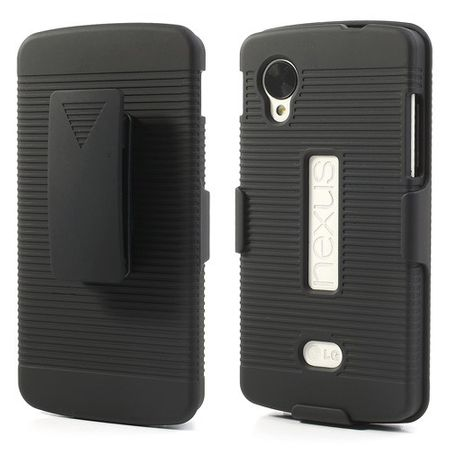 LG Google Nexus 5 Rutschfestes Hart Plastik Case mit Gurthalterung - schwarz