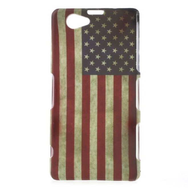 MU Style Sony Xperia Z1 Compact Hart Plastik Case mit USA Nationalflagge retro-style
