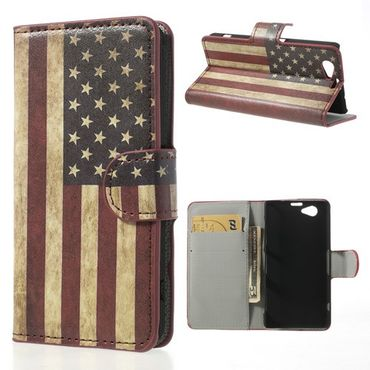 Sony Xperia Z1 Compact Leder Case mit USA Nationalflagge retro-style