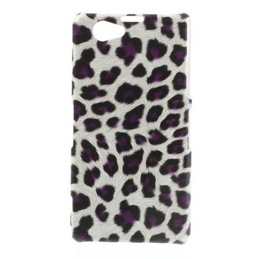 Sony Xperia Z1 Compact Trendiges Hart Plastik Case mit Leopardenmuster - purpur