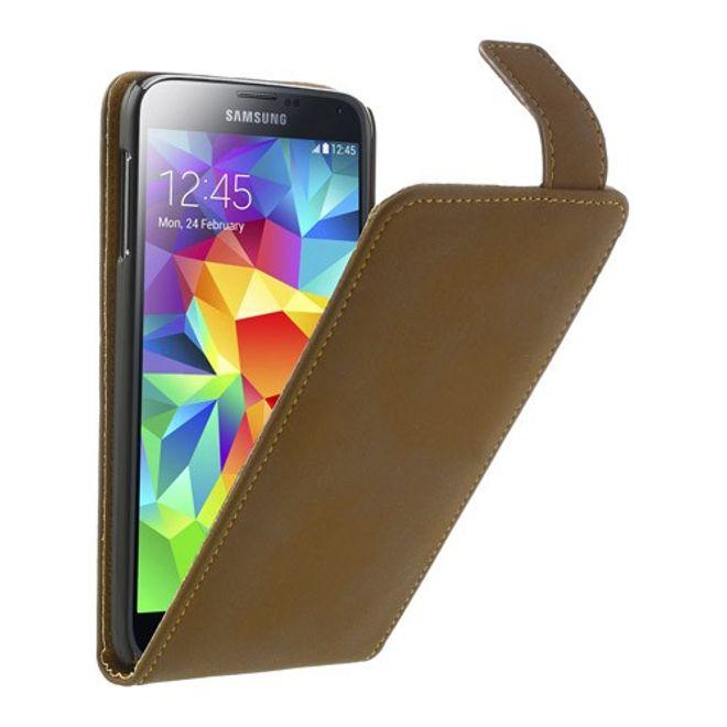 Samsung Galaxy S5 Leder Flip Case Retro-Style - hellbraun