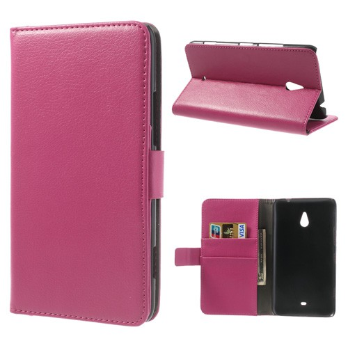 Nokia Lumia 1320 Leder Cover mit Litchimuster und Standfunktion - rosa