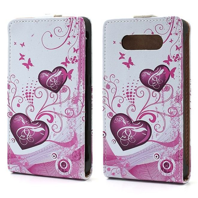 MU Style Nokia Lumia 820 Leder Flip Case mit zwei Herzen - weiss