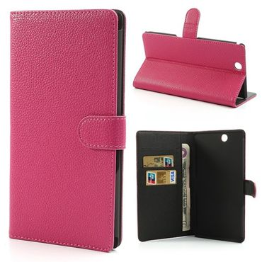 Sony Xperia Z Ultra Leder Case mit Litchimuster - rosa