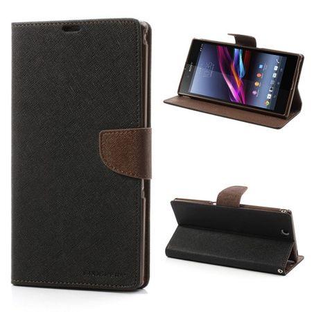 Sony Xperia Z Ultra Modisches, magnetisches Leder Case - braun/schwarz