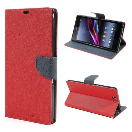 Goospery - Sony Xperia Z Ultra Hülle - Handy Bookcover - Fancy Diary Series - rot/navy