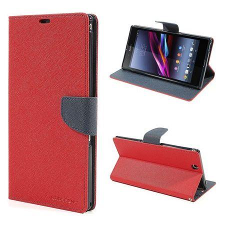 Sony Xperia Z Ultra Modisches, magnetisches Leder Case - dunkelblau/rot