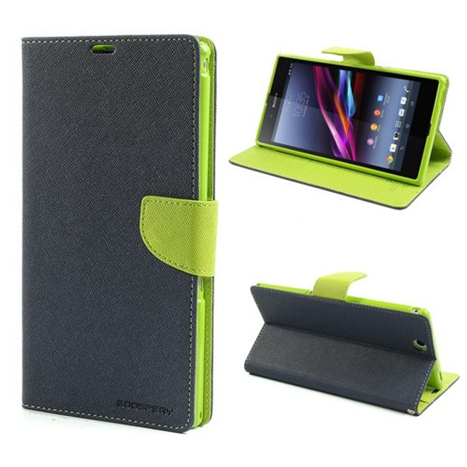 Goospery Mercury Goospery - Sony Xperia Z Ultra Hülle - Handy Bookcover - Fancy Diary Series - navy/lime