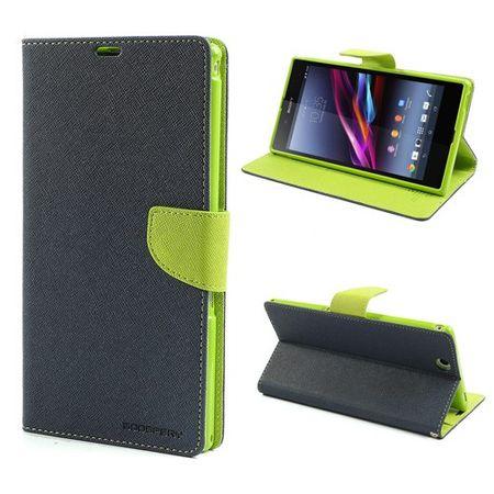 Sony Xperia Z Ultra Modisches, magnetisches Leder Case - grün/dunkelblau