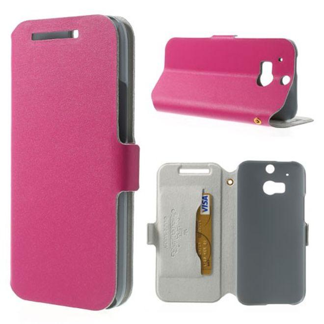 HTC One Mini 2 (M8 Mini) Echtleder Case mit Standfunktion - rosa