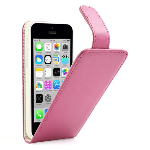 iPhone 5C Magnetisches Leder Flip Case - rosa