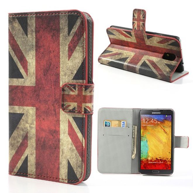 MU Style Samsung Galaxy Note 3 Leder Case mit UK Nationalflagge retro-style