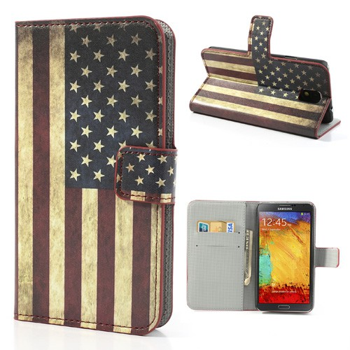 Samsung Galaxy Note 3 Leder Case mit USA Nationalflagge retro-style