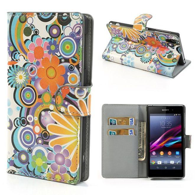 Sony Xperia Z1 Leder Case mit farbenfrohen Blumen