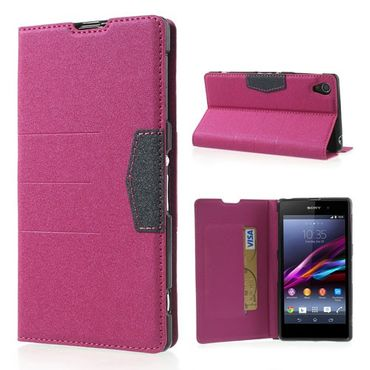 Sony Xperia Z1 Magnetisches Leder Case - rosa